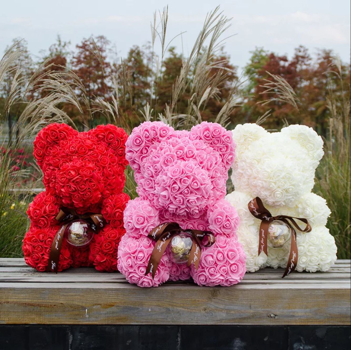 Hot Sale Rose Flower Teddy Bear For Valentines Daybirthday And