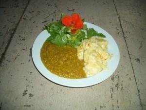 A recipe for dahl and potato bake
