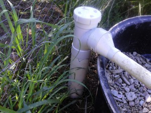 Grey water inlet pipe with access