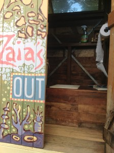 """""""Zaia's Outhouse"""", the outdoor compost toilet at the residence at the Permaculture Research Institute Sunshine Coast."""