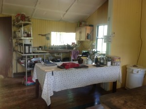 Communal kitchen at Maungaraeeda