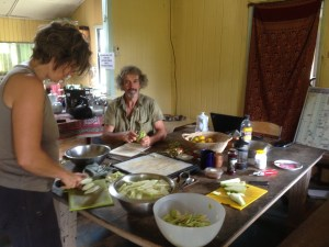 Choko chips making at Maungaraeeda, Zaia and Tom Kendall's permaculture farm in Queensland Australia