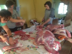 At Maungaraeeda the team process their own beef.