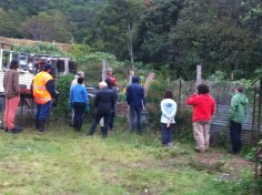 Permaculture Design Certificate course PDC course Day 2, Bio Digester Chicken Compost area at Maungaraeeda
