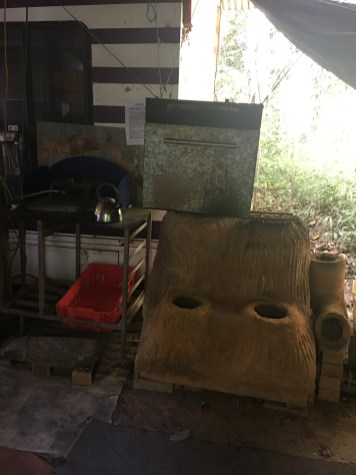Rocket stoves in camp kitchen