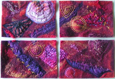 Felted and Stitched Postcards