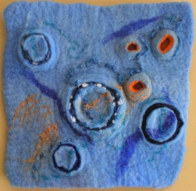 Wet Felted Wall Hanging, Study in Blue
