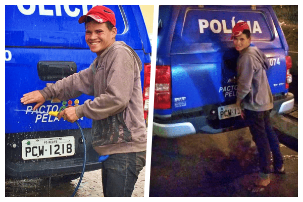 Rapaz urina em viatura da polícia, se arrepende e lava todas as viaturas da companhia Pernambuco Notícias