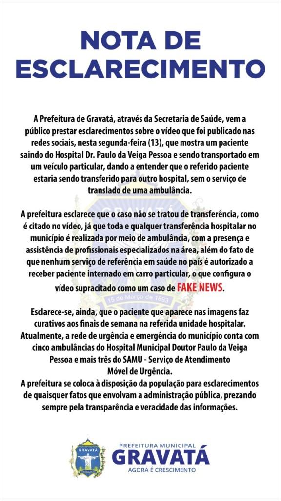 FAKE NEWS: prefeitura desmente vídeo que mostra homem sendo 'transferido' em mala de 'saveiro'