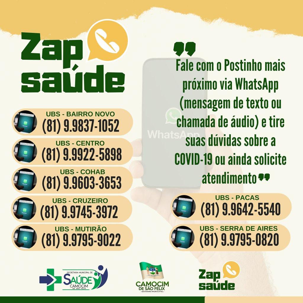 """Camocim de São Félix lança o serviço """"Zap Saúde"""""""