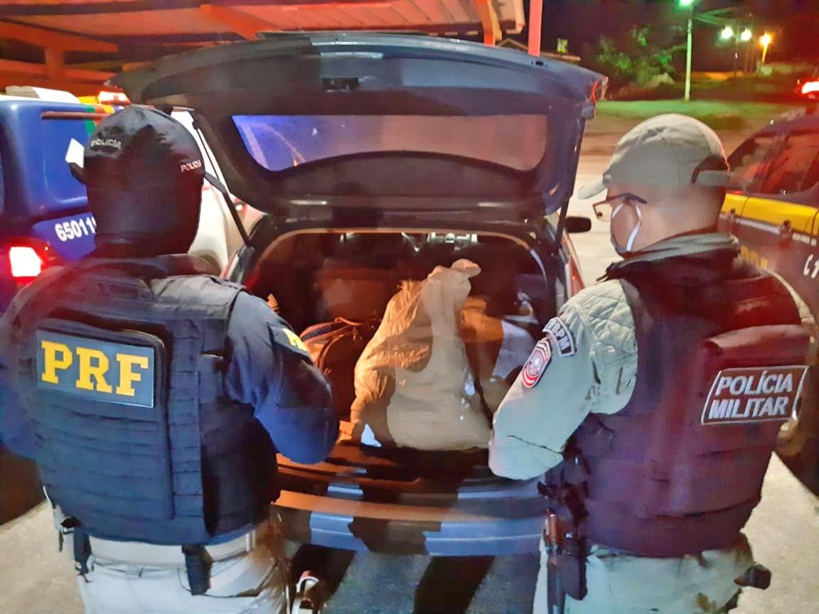 Polícia Militar e PRF prende suspeito com 10 quilos de maconha em São Caetano
