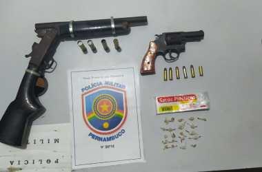 PM prende suspeitos e apreende armas de fogo no Agreste