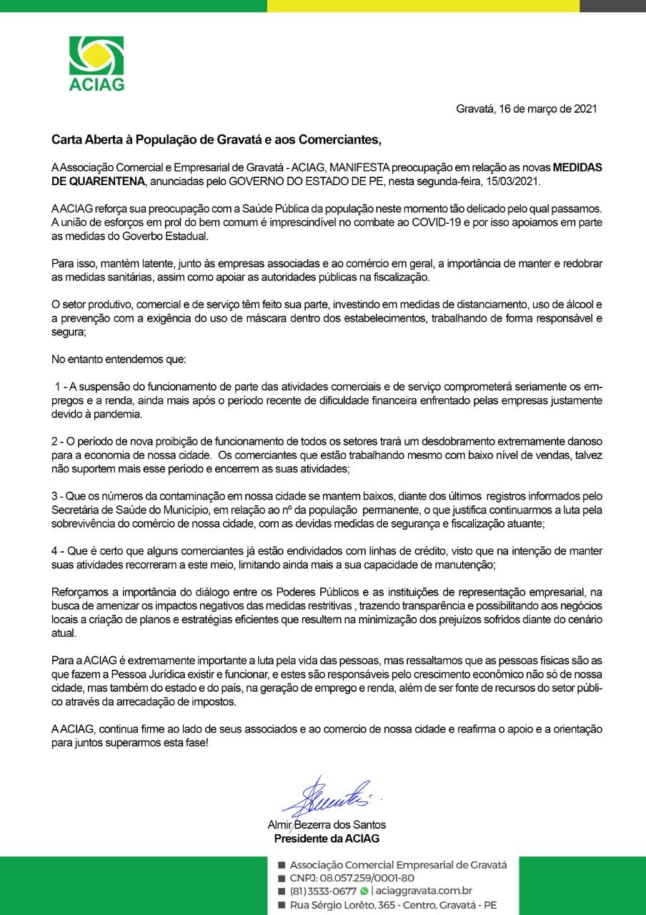 ACIAG emite carta aberta para população e comerciantes diante novas medidas de quarentena