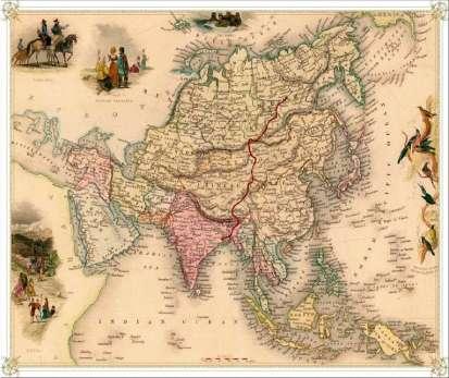 Trasa przebiegała przez pięć krajów i została podzielona na etap wodny, pieszy, konny i rowerowy. (Mapa z archiwum wyprawy)