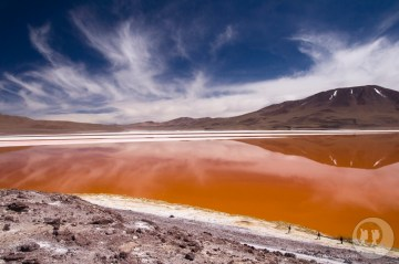 Czerwona laguna w Boliwii.