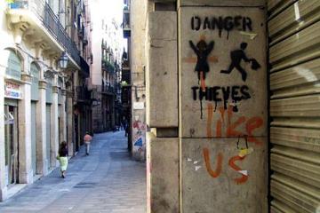 Złodzieje w Barcelonie - graffiti