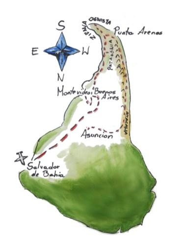 Odwrócona mapa Ameryki Południowej