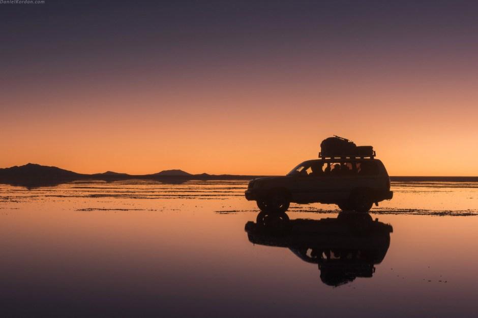 Zachód słonca na pustyni, Boliwia, Salar de Uyuni