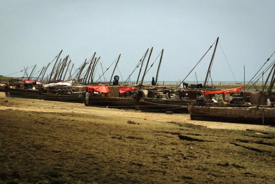 Zanzibar, port w wiosce Fumba, łodzie rybaków