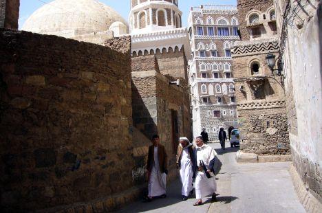 Jemen, Sana, Wielki Meczet, muzułmanie przed meczetem