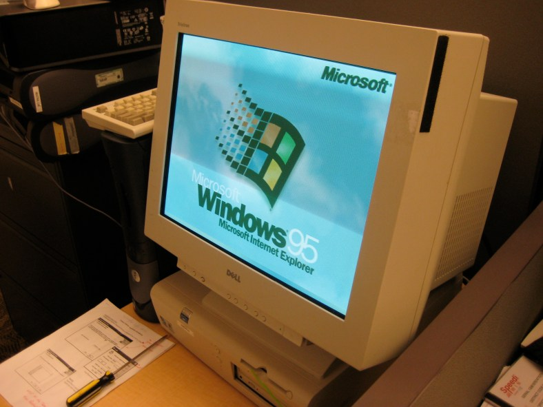 Windows 95 computer with a CRT moniitor