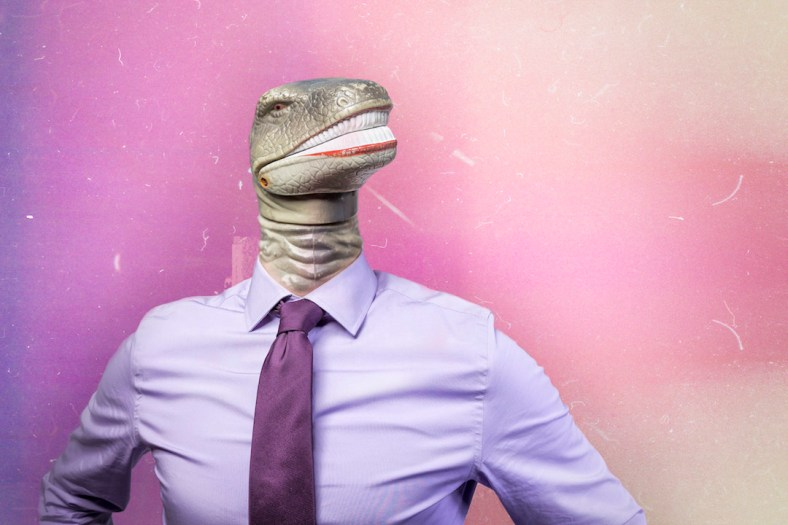Dinosaur headed man in a business shirt and tie via gratisography.com