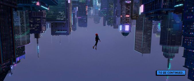 Miles Morales' Spider-man taking a leap of faith and falling upwards towards upside down buildings.