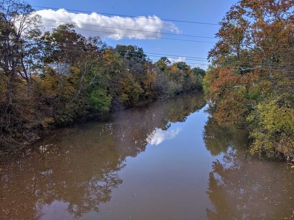 Creek with fall tree reflections.