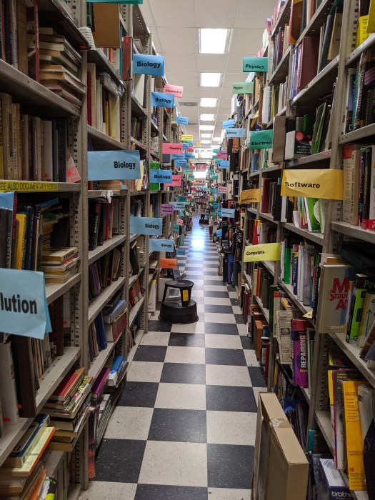 Long aisle of books.