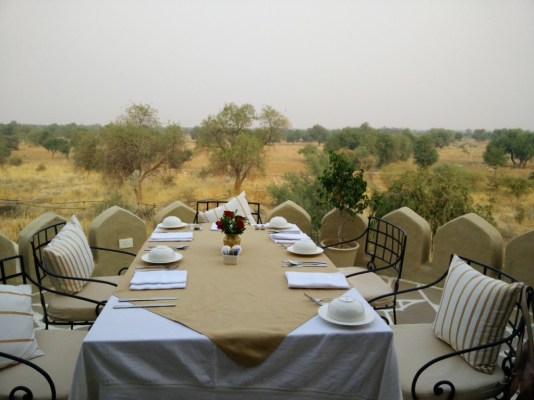 Table with a view at luxurious Mihirgarh, Jaisalmer