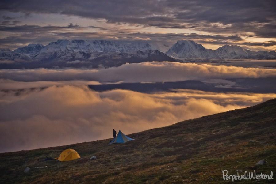 twaharpies ridge, university peak, wrangell st elias, backpacking, hike, climb, alaska sunrise