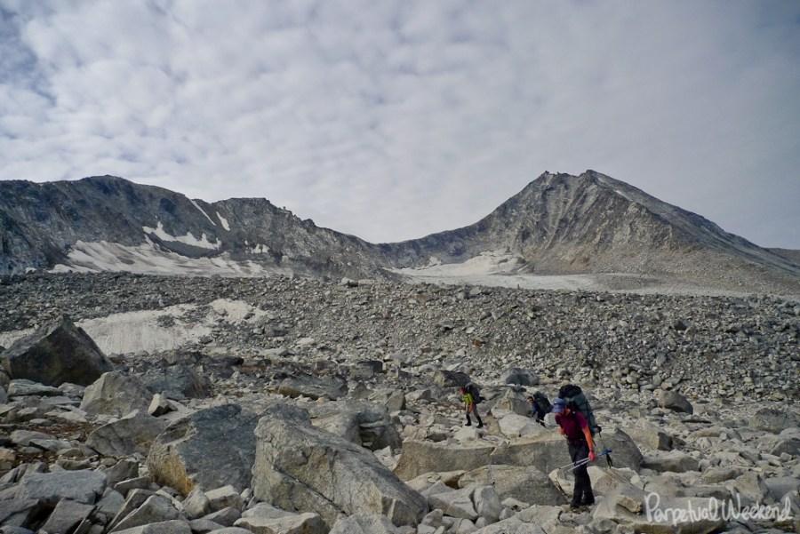 talus boulder hiking backpacking in alaska