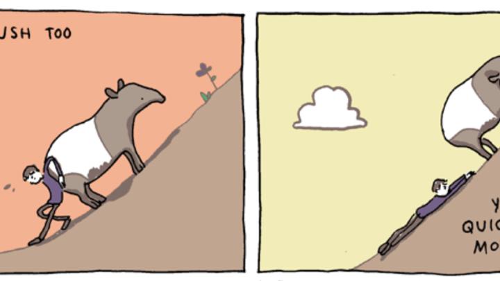 De berg te hoog? Lees een cartoon.