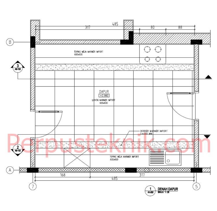 Download Gambar Ruang Dapur dan Pantry DWG