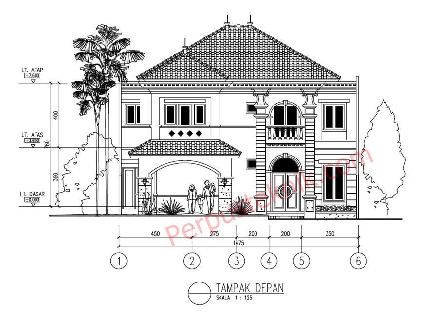 Desain Rumah 2 Lantai Dwg  download gambar rumah 2 lantai 1475 x 2800 dwg