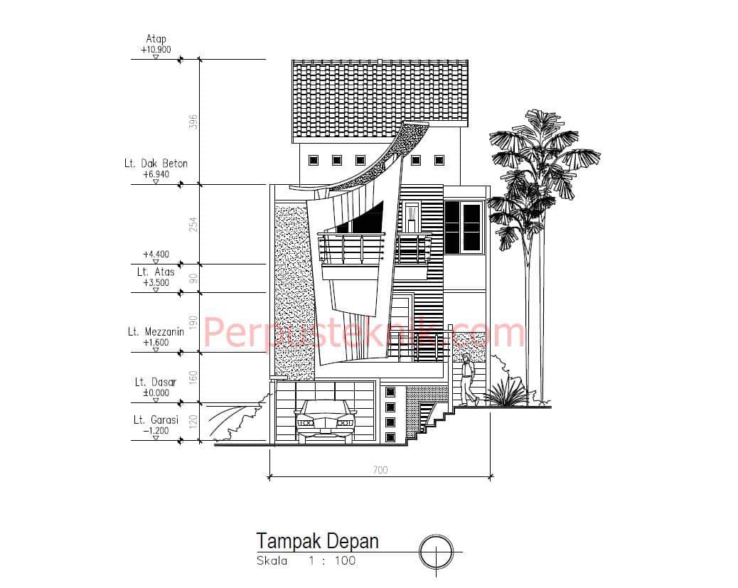 Download gambar rumah 3 lantai DWG 7 x 20