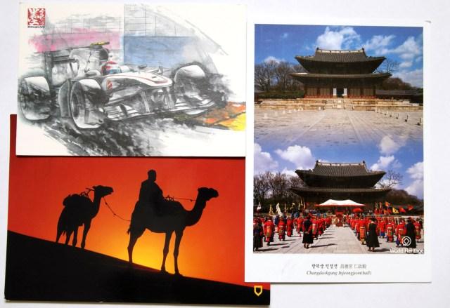 Postales de Japón, Marruecos y Corea del Sur