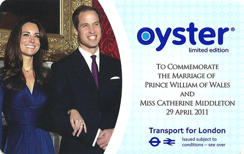 Tarjeta Oyster conmemorativa de la boda real de William y Kate Middleton