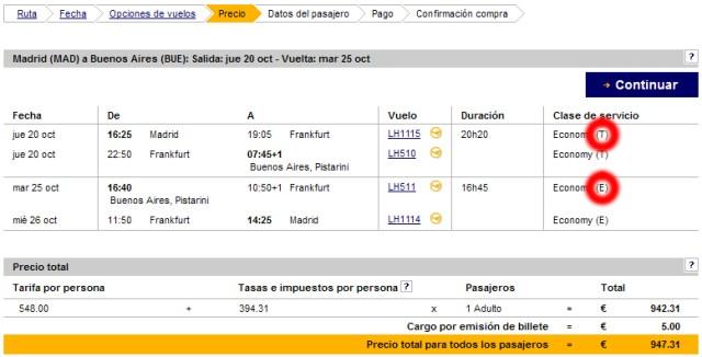 Dónde encontrar el código de tarifa al reservar en la web de Lufthansa