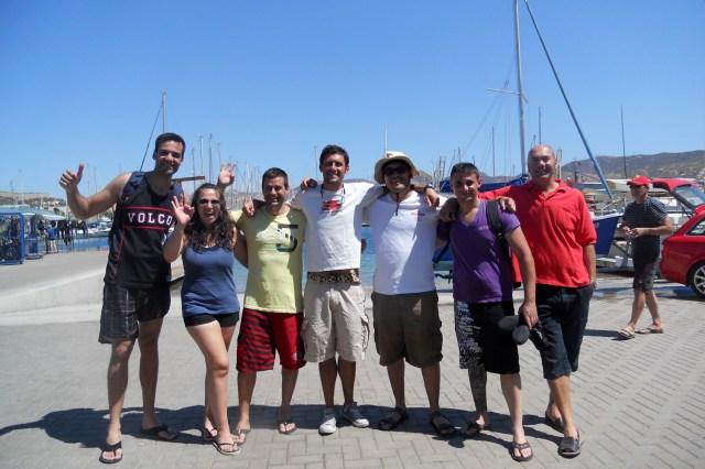 Grupo de buceo en el centro Hespérides de Cartagena, Murcia, España