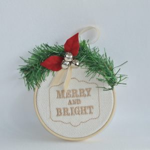 """""""Merry and Bright"""" Hoop Ornament - 4"""""""