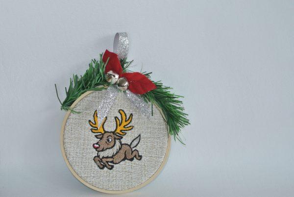 """Cartoon Reindeer Hoop Ornament - 4"""""""