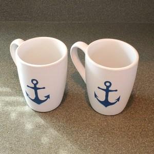 12 oz coffee mugs with anchors