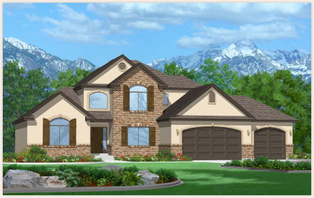 Hickory model home designed by Perry Homes, Utah.