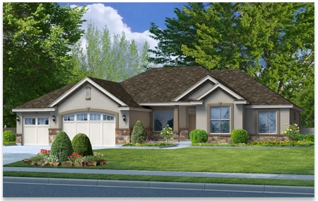 Linden floor plan custom designed by Perry Homes, Utah.