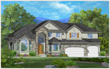 Sequoia floor plan custom designed by Perry Homes, Utah.
