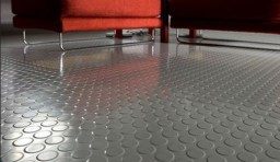Example of interior space utilizing rubber flooring.