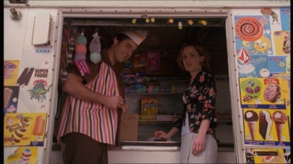 A still image of Xander and Anya from Buffy the Vampire Slayer.