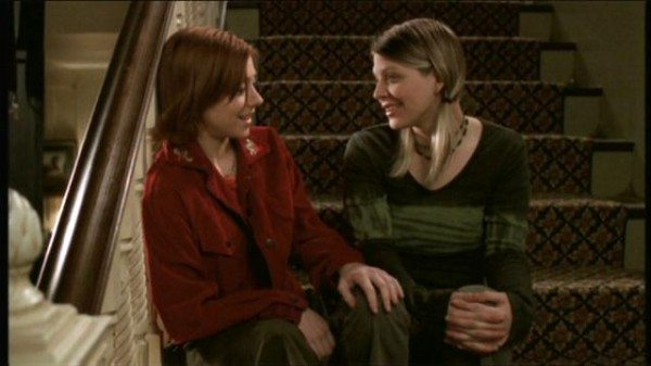 A still image of Willow and Tara from Buffy the Vampire Slayer.