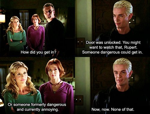 An image of Spike, Giles, Buffy, and Willow.